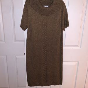 Dressbarn Cowl Neck Wool CableKnit Sweater Dress